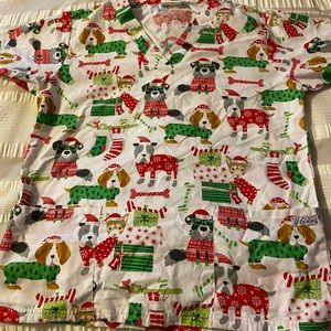 Size small Christmas puppy scrub top